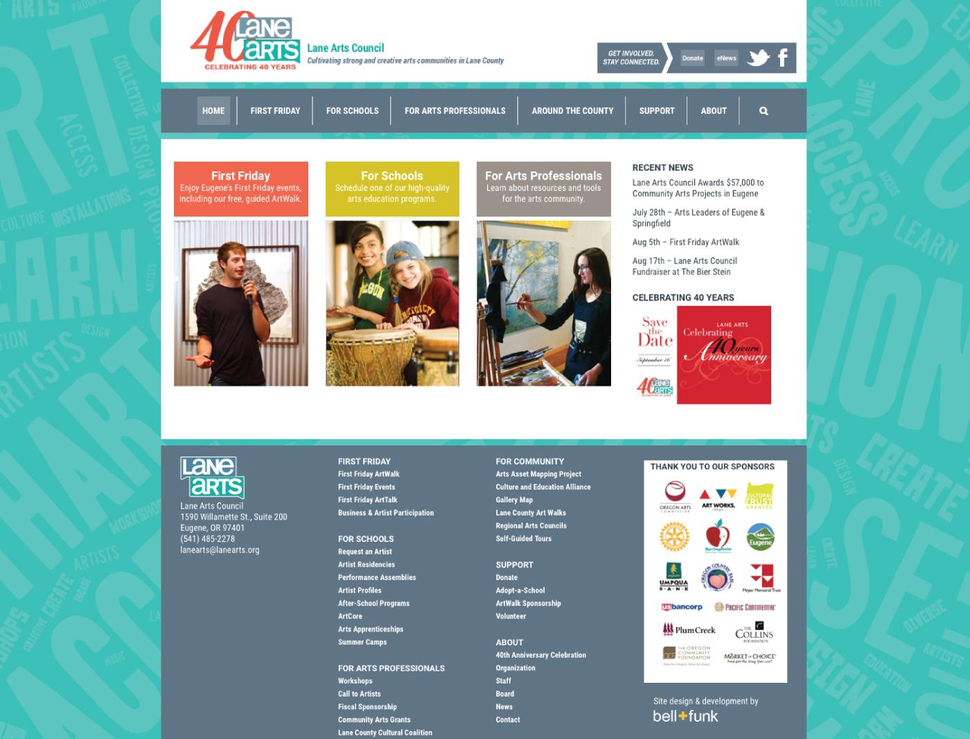 web design for lane arts council