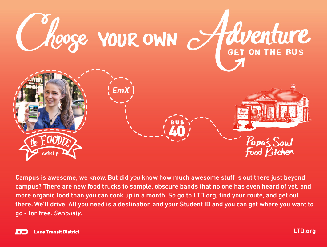 UO Student Campaign ad featuring the Foodie